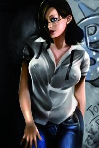 Immagine ritratto di una sexy segretaria porcella